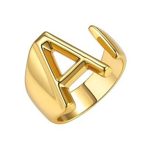 Gold Bold Initial Letter Open Ring Statement Ring